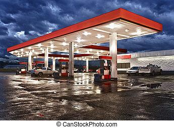 conveniência, estação, gás, loja