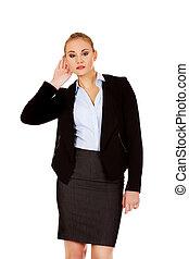 conversação, mulher, overhears, jovem, negócio