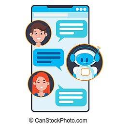 conversa, concept., conversando, aplicação, robô, teia, apartamento, ilustração, vetorial, bandeiras, caricatura, cute, smartphone., chatbot, local, usuários, bot, minimalistic, móvel