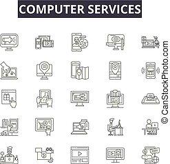 conversa, illustration:, ajuda, jogo, telefone, esboço, conceito, apoio, vector., linha, serviço, cliente, sinais, ícones, serviços