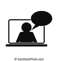 conversa, online, simples, ícone, estilo