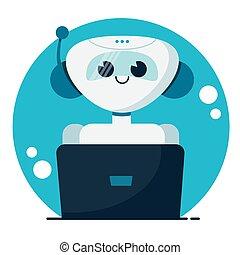 conversa, serviço, bot., ilustração, caricatura, sorrindo, concept., vetorial, cute, apartamento, apoio, robô