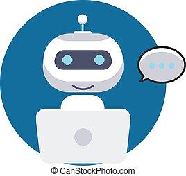 conversa, sinal, apoio, icon., concept., serviço, bot, robô