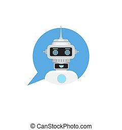 conversa, vetorial, robô, fala, serviço, icon., style., bot, bubble., apartamento, apoio, ilustração