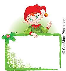 convidar, &, duende, lugar, cartão natal