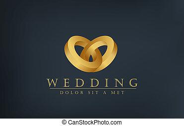 convite, anéis, criativo, desenho, casório, logotipo, template., cartão