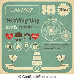 convite casamento, cartão, infographics