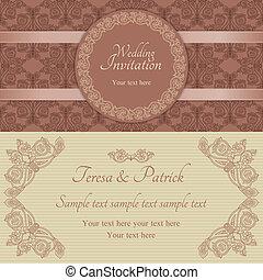 convite, marrom, barroco, bege, casório