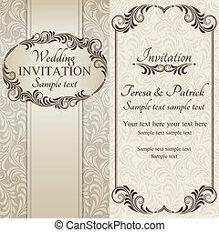 convite, marrom, barroco, casório
