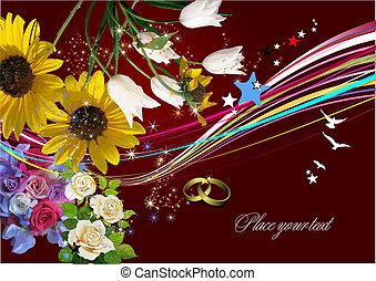 convite, vetorial, casório, cartão, saudação, card., illustration.