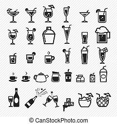 coquetel, set., ep, ilustração, ícones
