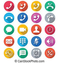 cor, apartamento, telefone, ícones