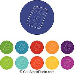 cor, apoio, vetorial, jogo, ícones