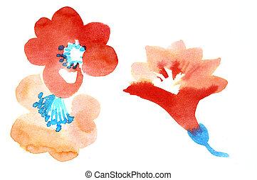cor, aquarela, flores, ilustração, pinturas