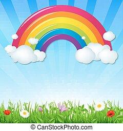 cor, arco íris, flores, nuvens, capim