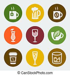 cor, bebidas, vetorial, jogo, ícones
