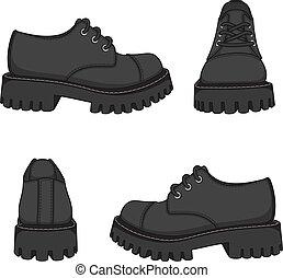 cor, boots., ilustrações, jogo, vetorial, isolado, objects., sapatos, pretas