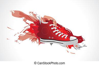 cor, brinca sapatos, vermelho, spla