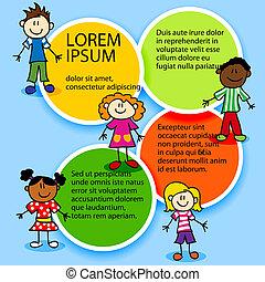 cor, círculos, crianças, caricatura