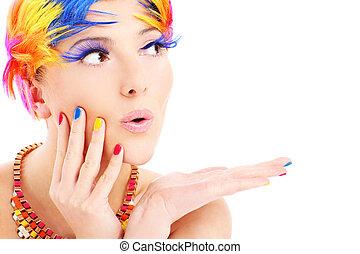 cor, cabelos, rosto mulher