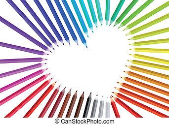 cor, coração, vetorial, lápis