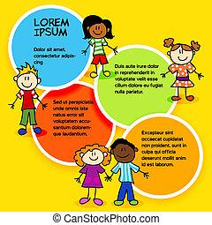 cor, crianças, circles-2, caricatura
