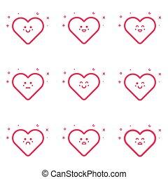 cor-de-rosa, apartamento, emoticons, jogo, ilustração, vetorial, linha, style., ícone
