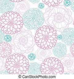 cor-de-rosa, azul, padrão, seamless, fundo, lineart, flores