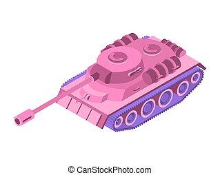 cor-de-rosa, blondes, isometric, tanque brinquedo, exército, rosa, tank., equipment., incomum, clockwork, experiência., máquina, femininas, car, militar, branca, plaything