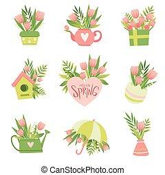 cor-de-rosa, buquês, primavera, cobrança, flores, vetorial, desenho, ilustração, modelo, floral, olá