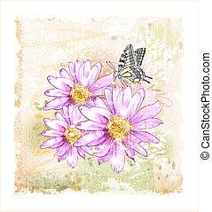 cor-de-rosa, campo, flores, borboleta
