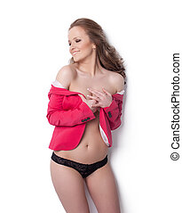 cor-de-rosa, casaco, mulher, jovem, feliz