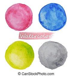 cor-de-rosa, cinzento, aquarela, bacground., amarela, manchas, vecto, branca, jogo, azul