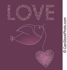 cor-de-rosa, coração, abstratos, pássaro