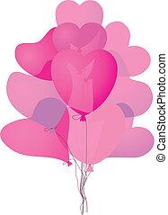 cor-de-rosa, coração, balões, colorido, dado forma