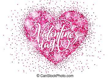 cor-de-rosa, coração, bandeira, cartaz, valentine, brilhar, desconto, bandeira, modelo, convite, shopping, feriado, lettering., dia