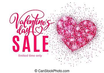 cor-de-rosa, coração, bandeira, cartaz, valentine, brilhar, venda, desconto, bandeira, modelo, convite, shopping, feriado, lettering., dia
