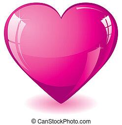 cor-de-rosa, coração, brilhar