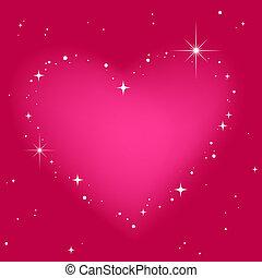 cor-de-rosa, coração, céu, estrela