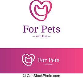 cor-de-rosa, coração, cabeça, logotype., sinal., técnica, sobrepondo, gato, vetorial, trendy, logotipo, fita