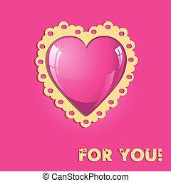 cor-de-rosa, coração, cartão, valentine