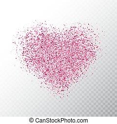 cor-de-rosa, coração, dust., heart., bandeira, particles., magia, isolado, ilustração, glowing, experiência., luminoso, vetorial, luxo, faíscas, estrela, feriado, brilhar, transparente, design.