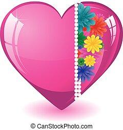 cor-de-rosa, coração, ilustração, valentine, flores, vetorial, fundo