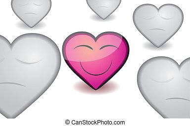 cor-de-rosa, coração, ilustração, valentine, vetorial, appreciable, fundo