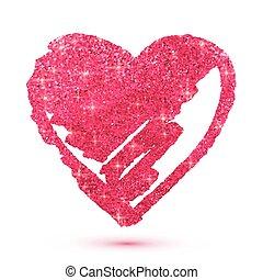 cor-de-rosa, coração, isolado, branca, brilhar, brilhar