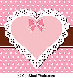 cor-de-rosa, coração, renda