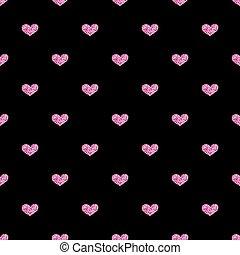 cor-de-rosa, coração, seamless, experiência preta, brilhar
