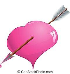 cor-de-rosa, coração, vetorial, ilustração, perfurado, seta, brilhar