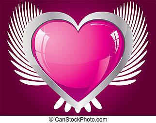 cor-de-rosa, coração, winged, ilustração, vetorial, brilhar