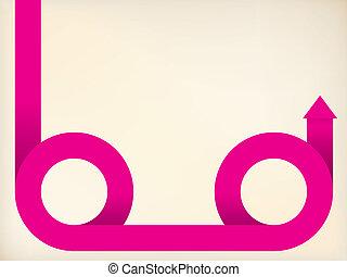 cor-de-rosa, curvar, seta, fita, dado forma